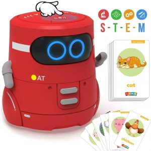GILOBABY Robot Toy Touch Sensor Smart Robotics STEM Learning Educational Toys with Singing, Dancing, Repeating, Voice Recording and Interactive Games, 20 Animals Cards, Gift for Kids