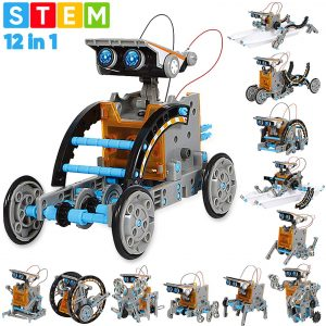 Sillbird STEM 12-in-1 Education Solar Robot Toys -190 Pieces DIY Building Science Experiment Kit for Kids