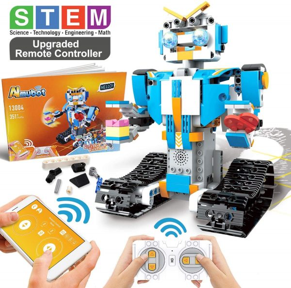 POKONBOY Building Blocks Robot Kit for Kids,App Controlled STEM Toys Science Engineering Kit DIY Building Robot Kit STEM Robotics for Teens Boys Girls to Build Age of 8-14