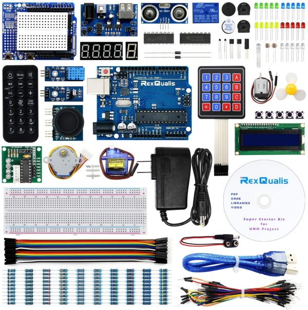 REXQualis UNO Project Super Starter Kit with Tutorial and UNO R3 Compatible with Arduino IDE