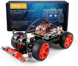 SunFounder Raspberry Pi Car DIY Robot Kit for Adults Picar-s,Visual Programming with Ultrasonic Sensor Light