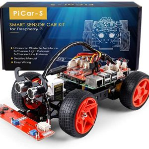 SunFounder Raspberry Pi Car DIY Robot Kit for Adults Picar-s,Visual Programming with Ultrasonic Sensor Light