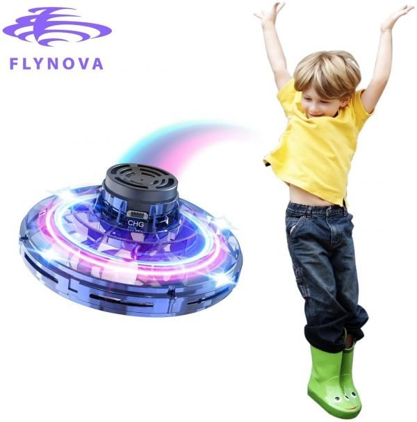 FlyNova Hand Operated Drones for Kids or Adults, Flying Drones Mini Hand Controlled Tricked-Out Flying Spinner Scintillating RGB Lights USB Charging