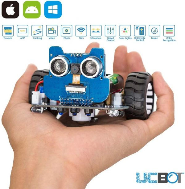 """Multiple Features: obstacle avoidance, line tracking, following, tracking color code, playing piano and music, photos/videos shooting, wireless real-time video transmission. App Controlled Robot with Camera: iOS device search mobile app """"UCBOT"""" in APP Store; Android device search app """"UCBOT"""" in Google Play. See what the robot sees with easy-to-use WIFI connection. Easy Installation: 1. mount the battery holder and put batteries in. 2. put the wheels on. 3. insert the head to the body. (Batteries not included, need 4 AAA batteries to work) Scratch Programming: not only an interesting rc toy, but also a junior STEM education tool to inspire your kids to get great ideas and grow their interests in science and engineering through piling up the blocks simply on smartphone, pc and tablet. Scratch programming tutorial: http://www.uctronics.com/download/Amazon/UCBOT_Scratch_Blocks.pdf For computer, please download the software from https://github.com/UCTRONICS/UCBOT/raw/master/SCRATCH/Windows/UCBOT.exe Customize Your Unique Car: the robot car has a unique name when produced, can also be renamed and reset the password and customized the software development in Arduino IDE"""