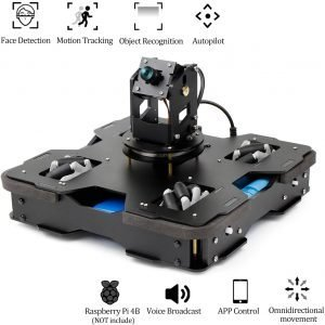 Yahboom AI Robot for Raspberry Pi 4B 3-DOF Camera with Mecanum Wheel Omnidirectional Kit for Teens and Adults, Visual Autopilot
