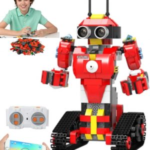 Elite Breed Stem Toys Building Blocks Kids Robot | Red Coding Robot with Remote Control